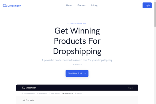dropshipon.com - SaaS with $294 MRR and 180+ users signed up