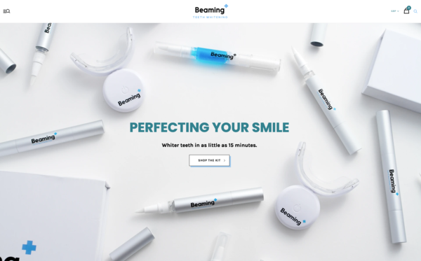 beamingteeth.com - Teeth Whitening Brand with custom product & 1,500 worth of stock