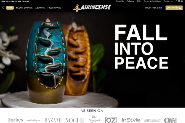 AirIncense Waterfall Burners - Premium Incense Waterfall Burners Dropshipping store HOT NICHE/ No Programming Skills Needed, No Stock Needed, Earn Up To $10k/Month Profitable Afte Sale Suppor