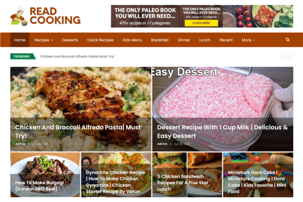 ReadCooking.com - Fully Automated Recipe/Cooking Site + 1 Year Free Hosting(Bonus)-Earn $5k/month