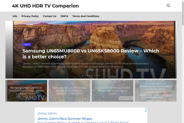 uhdledtvcomparison.com - Website reviewer of TVs in adsense on Wordpress