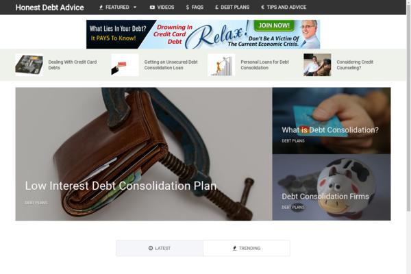 HonestDebtAdvice.com - Hot Niche! - Debt & Credit Blog - High CTR Theme - Amazon Ads! - BIN Bonuses!