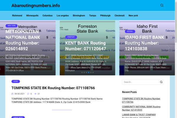 abaroutingnumbers.info - Finance Routing Numbers For Any Bank. Google traffic USA