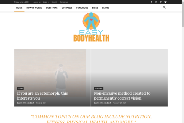 EasyBodyHealth.com - EasyBodyHealth: Body, Health, Body Functions, Guidance, Learn, Questions, Signs