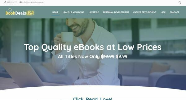 BookDealsUSA.com - Fully Stocked eBook Store, Passive Income Potential, Premium Domain