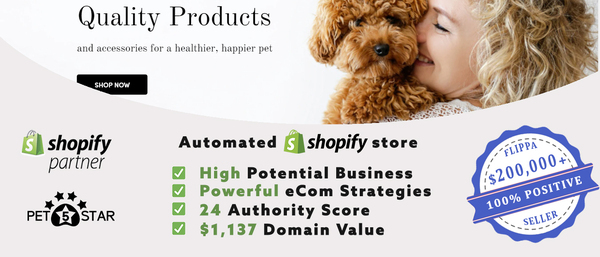 Pet5Star.com - HIGH VALUE Pet Supplies Dropship Shop [$4,336/mo Potential, eCom Mentoring]