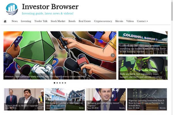 InvestorBrowser.com - Premium Design Investment Advice Website - Fully Automated - Amazon & Ad Income