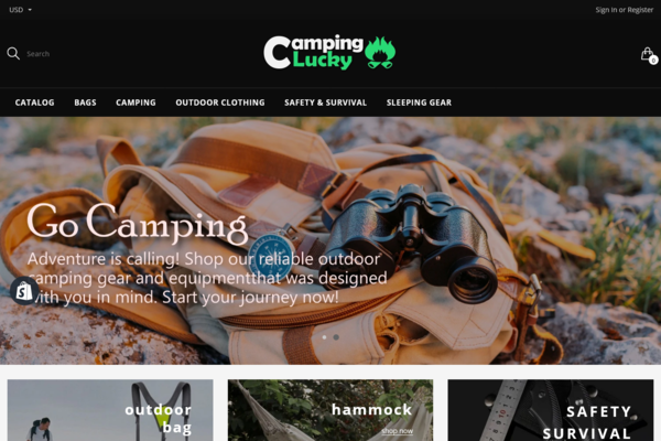 CampingLucky.com - PREMIUM WEBSITE SHOPIFY STORE - CAMPING SUPPLIES. HIGH PROFIT MARGIN. Automated