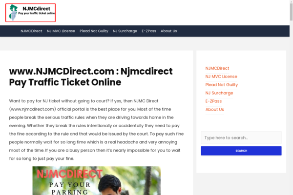 njmcdirect.services - Njmcdirect Pay Traffic Ticket Online Website