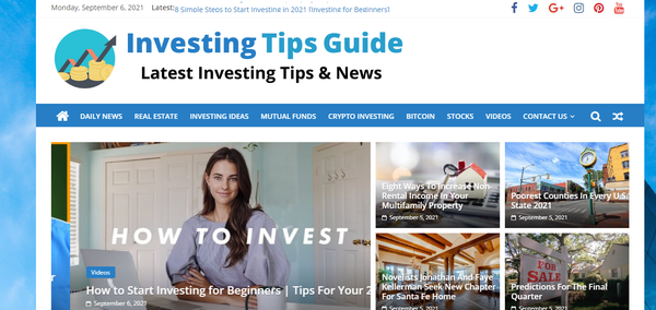 InvestingTipsGuide.com - Investment Advice Website, Fully Automated, Amazon & Ad Income. 1 year Host BIN