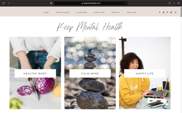 keepmentalheath.com - Mental Health & Lifestyle niche blog with 20 unique-text articles and a premium Genesis theme ($69)  for just $199.  Perfect for both beginners and pros .