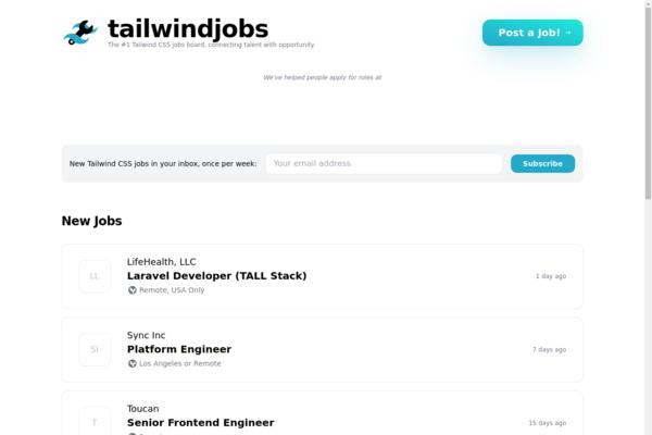 tailwindjobs.com - tailwind css jobs site