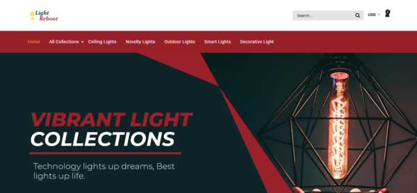 LightReboot.com - Professionally Designed Automated Light Store Domain Value $1,336 (USD)