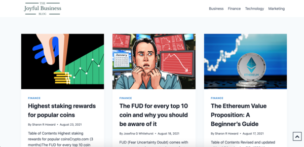 joyfulbusinessblog.com - Guides on business, cryptocurrency, finances and technology