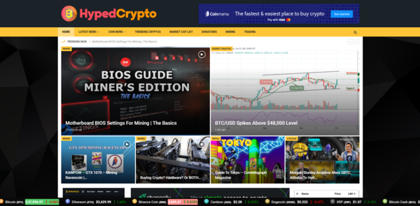 HypedCrypto.com - 100% Autopilot Crypto Bitcoin News Magazine Blog To Make Money Online on Crypto Ads - Premium Domain Name Valued $1300 - Newbie Friendly WordPress Site