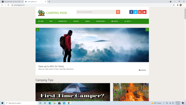 CampingPeek.com - Premium Design Camping Site-100% Fully Automated - Amazon & Ad Income