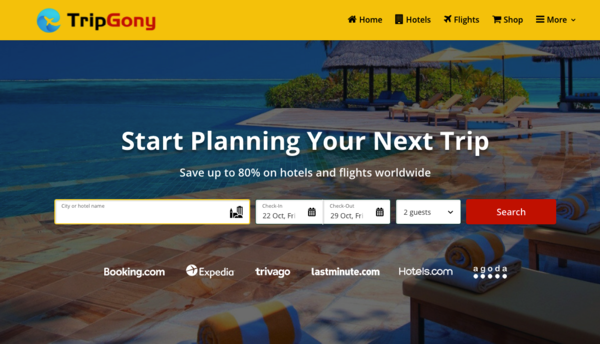 TripGony - Automated Travel Affiliate Website, Earn Up To $5k /Mon On Hotels , Car , Flights , Trip Bookings
