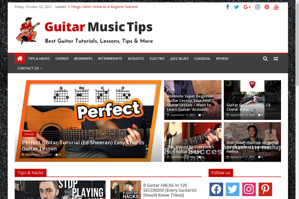 GuitarMusicTips.com - Guitar Tutorials, Tips, Guides - Killer Design - 100% Automated - 1 Extra site Or 1 Year free Hosting for BIN + Bonuses - Amazon & Clickbank Income.