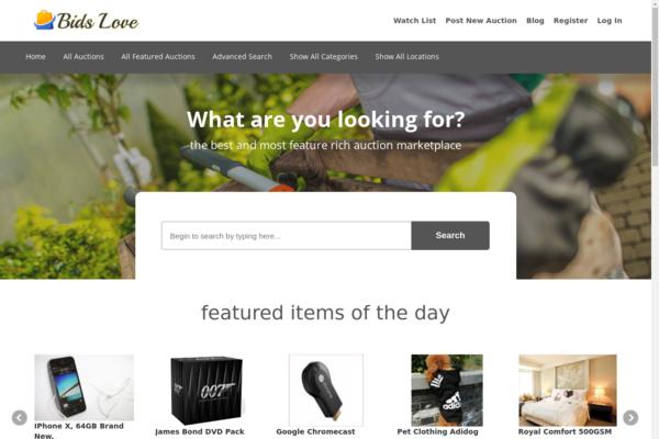 bidslove.com - Modern Web Auction Marketplace - Passive Profit. Modern Design. Huge Potential.