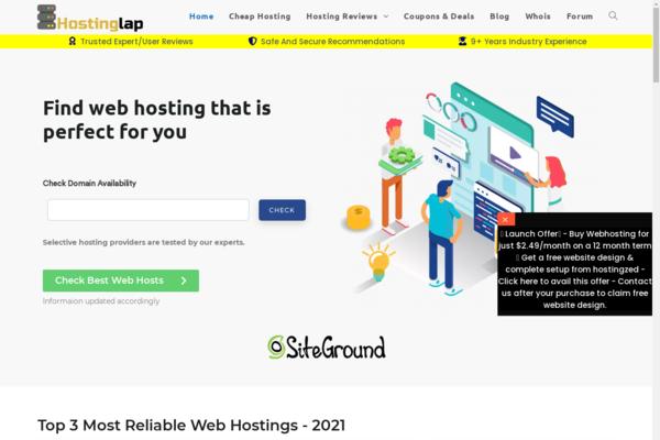 HostingLap.com - Hosting & domain review affiliate responsive website with premium web design
