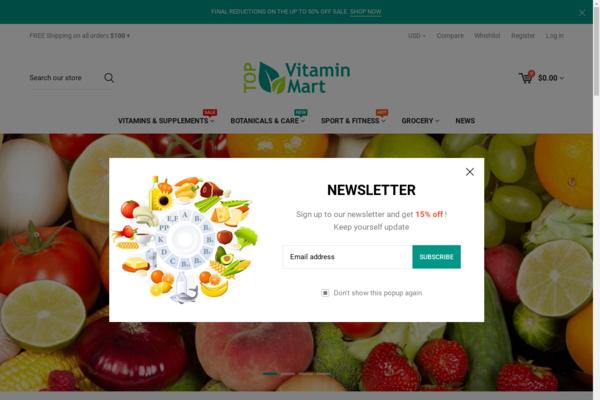 TopVitaminMart.com - Vitamins Health Nutrition Supplements Dropship Business w/10,000itms,10yo domain