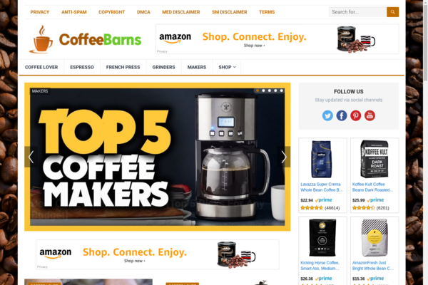 CoffeeBarns.com - Automated Coffee Niche Blog To Make Money Online from Amazon Affiliate Program