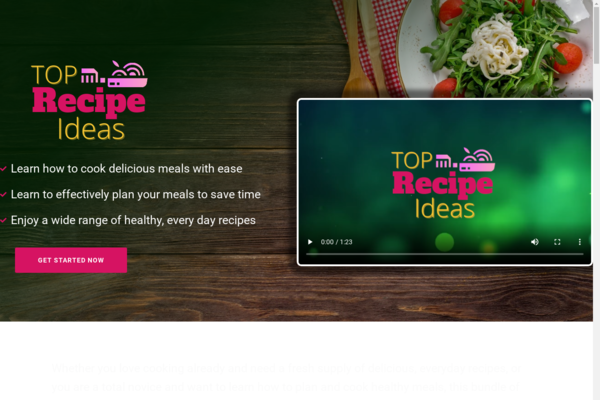 TopRecipeIdeas.com - Cooking and Recipe Book Bundle Store with 8 eBooks, Digital Product for Hands-Off Order Fulfilment, Custom Promo Video & Sales Graphics, WordPress & WooCommerce