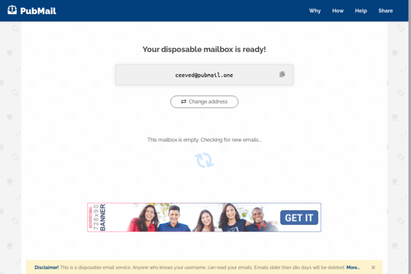 pubmail.xyz - Disposable Email Service Website + Extra Domain + Free Hosting