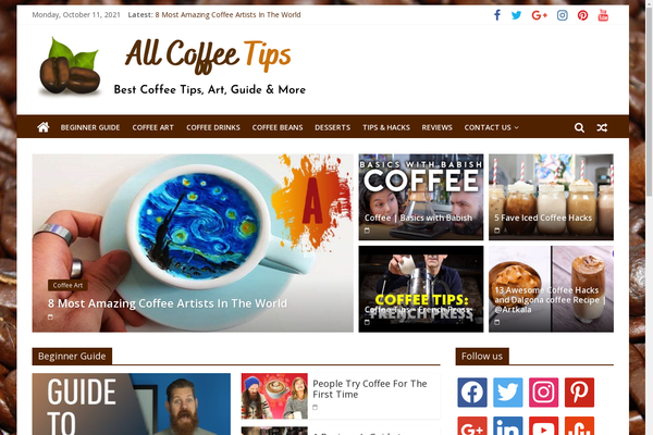 AllCoffeeTips.com - Coffee Tips, Art, Guides - Premium Design - 100% Automated - 1 Extra site Or 1 Year free Hosting for BIN + Bonuses - Amazon & Clickbank Income.