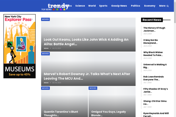trendytopnews.info - 100% Fully Automatic Celebrities News Wordpress Website, High Earning Potential