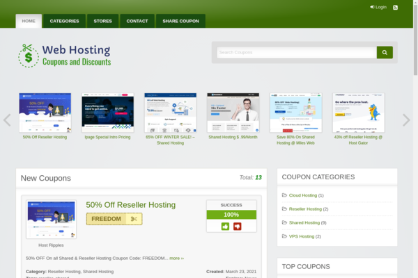 Web Hosting Coupons - Make up to$150/Sale - 100% Passive Income Web Hosting Coupons Site.