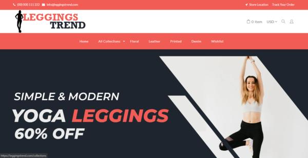 LeggingsTrend.com - Premium Automated Leggings Drop Shipping Store, Branded Eye-Catching Domain