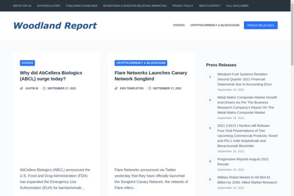 woodlandreport.com - WoodlandReport.com - Google News Old Edition Approved Stock Market Blog