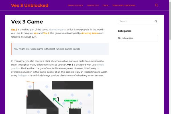 vex3unblockedd.com - The gaming site on WordPress was made in 2018. Organic traffic Google USA