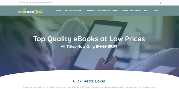 OnlineBooksDirect.com - Fully Stocked eBook Store, Great Passive Income Potential, Premium Domain