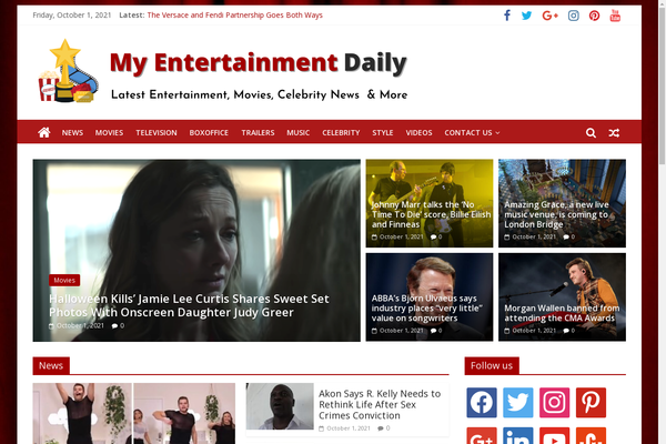 MyEntertainmentDaily.com - Entertainment News - Killer Design - 100% Automated - 1 Extra site Or 1 Year free hosting for BIN + Bonuses - Amazon & Clickbank Income.