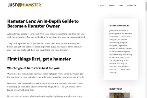 JustHamster.com - AMAZON Review Blog   100% Unique Content & Design   PET Niche   HD Stock Photos