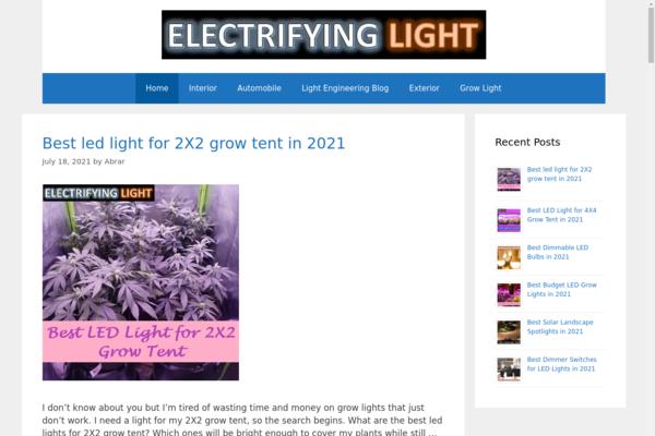 electrifyinglight.com - WordPress based Lighting Niche Website (Monetization: Amazon & AdSense)