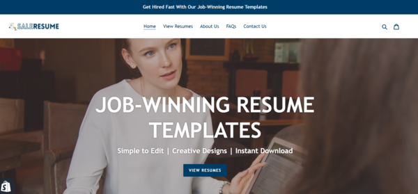 SaleResume.com - Password: flippa | Fully Automated Resume Template Store | Domain Value: $1,388