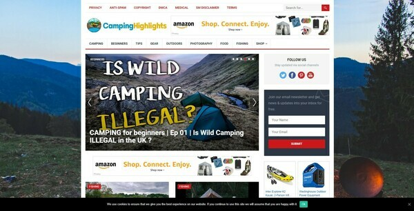 CampingHighlights.com - 100% Autopilot & Automated Camping Niche Site To Make Money Online From Amazon Ads, Affiliate Links - 200 Amazon Products Preloaded
