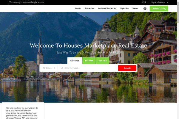 Houses Marketplace - This is a great opportunity for an online business. Online Real Estate Marketplace for everyone with different monthly subscriptions: free or paid listings