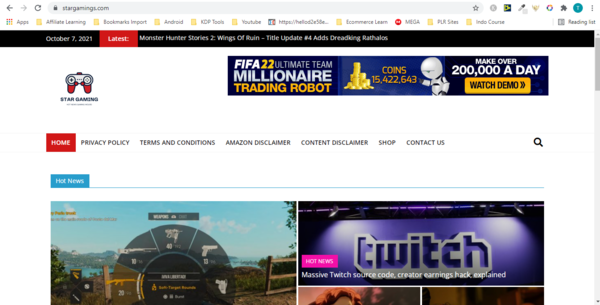Star Gamings - Fully Automated Gaming Blog Niche with Amazon affiliate and Clickbank Offer. Include bonus traffic tactics