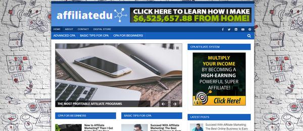 affiliatedu.com - Affiliate Marketing Blog with Unique Content 12,000 + Words. Get Organic Traffic