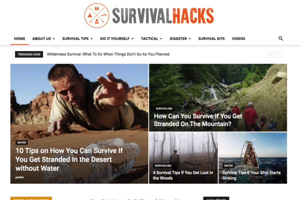 SurvivalHacks.co - Content Rich Survival Blog Ready to Monetized and Promoted