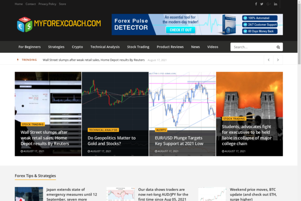 MyForexCoach.com - 100% Automated Forex News Site - Passive Income & Great Potential!