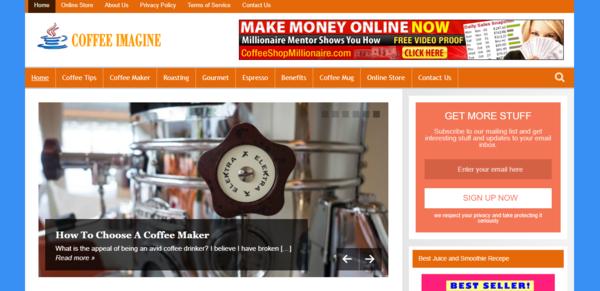 CoffeeImagine.com - Coffee Tips Blog-Lucrative Niche-Pro Design-$1.5KBINBonus-NEWBIE Friendly