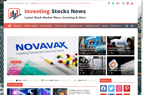 InvestingStocksNews.com - Stocks & Investing News - Premium Design - 100% Automated - 1 Extra site Or 1 Year free hosting for BIN + Bonuses - Amazon & Clickbank Income.