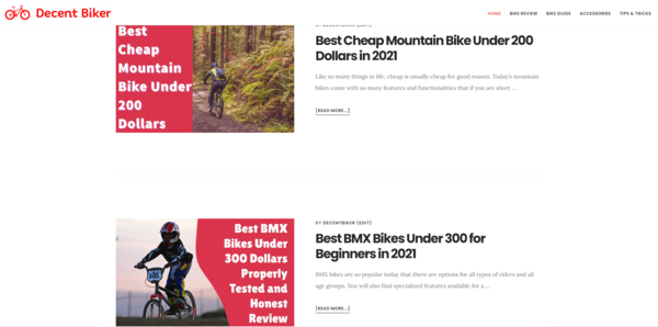 decentbiker.com - Amazon Affiliate Review Site in the Bike Niche with 84,000 words of content!