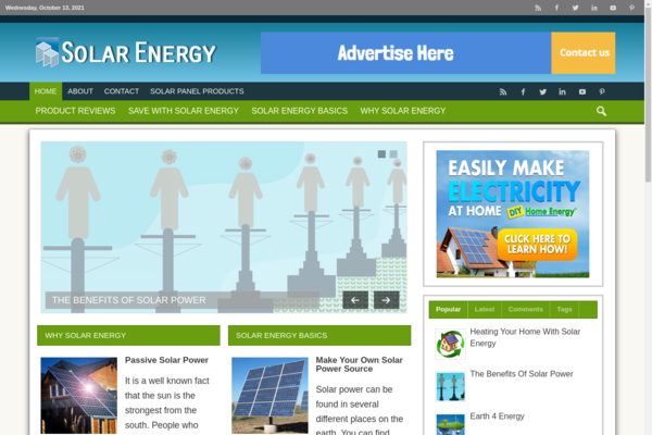 Solar Energy Products - SolarEnergyTime.com- 100% passive income with Solar energy products and services.  Earl Extra income online while staying home. No Experience Required.