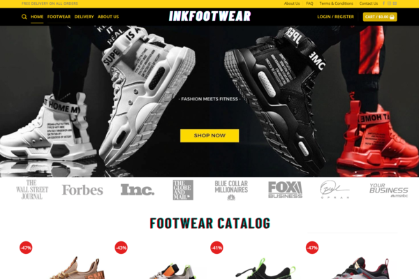 inkfootwear.com - Unique Brand Sneakers Dropshipping Store, Earn Up To $5000/Month| Domain: $1812